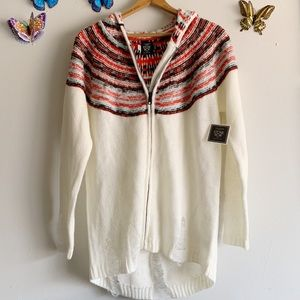 New Oversized Cardigan w/ Hood XS / S White Red